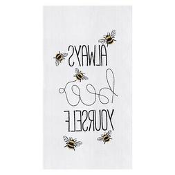 "Always Bee Yourself Ivory 18 x 27"" Cotton Decorative Flour S"