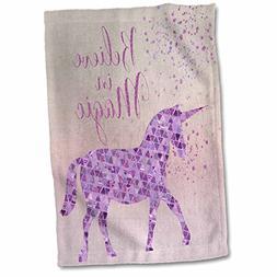 3dRose Glittering Unicorn and Test Believe in Magic Towel, 1