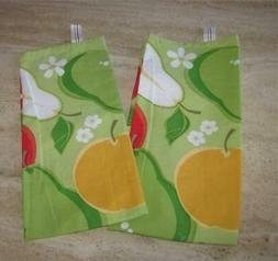 Apple, pear kitchen towels set 2; DII; green, yellow, white,