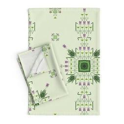 Art Nouveau Arts And Crafts Style Linen Cotton Tea Towels by