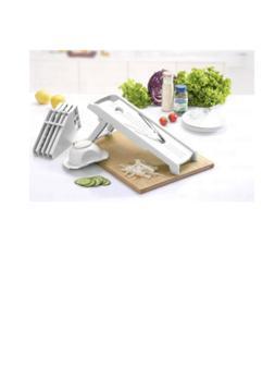 Aunti Em's Kitchen Mandoline Slicer, 5 Blade Set, White