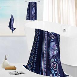 AuraiseHome toddler bath towel set Striped seamless ethnic