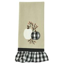 Autumn Checkerboard Applique Pumpkins Tan Towel Fall Country