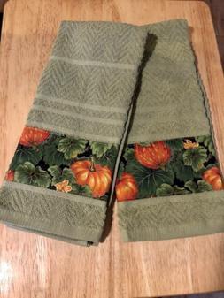 Autumn Fall Pumpkins Fabric Handmade Set 2 Kitchen Towels Sa