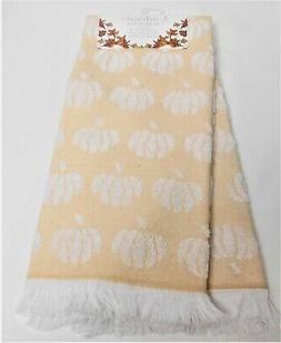 Ladinne Autumn Fall Set of 2 Kitchen Towels White Pumpkins T
