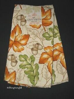 Autumn Leaves Kitchen Towels 100% Cotton - Set of 2 - Harves