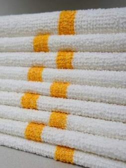 Bar Mop Cleaning Towels  - Cotton Terry , White with Orange