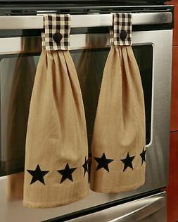 Barn Star Hanging Kitchen Towels - Rustic Cotton Set of 2