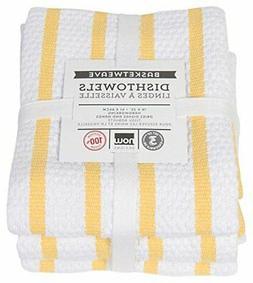 Now Designs Basketweave Kitchen Towel, Set of 3, Lemon