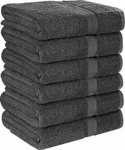 6 Bath Towels 22x44 Inch Soft Absorbent Cotton Pool Gym by U