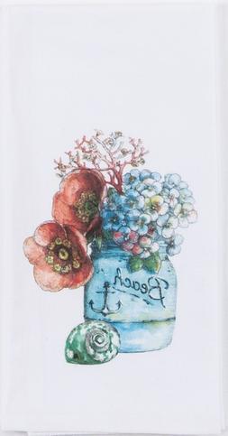 Beach House Canning Jar with Flowers Krinkle Flour Sack 27 I