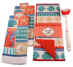 CapesTreasures Beach House Kitchen Sets with 100% Cotton Tow