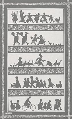 Beauville, Silhouettes Gris , French Kitchen / Tea Towel, Si