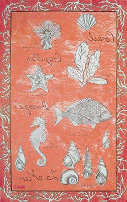Beauville, La Mer , Coral, French Kitchen / Tea Towel, Silk