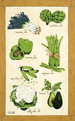 Beauville, Legumes Verts  French Kitchen/Tea Towel, Silk Scr