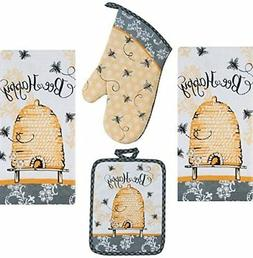 4 Piece Bee Happy Kitchen Set - 2 Terry Towels, Oven Mitt, P