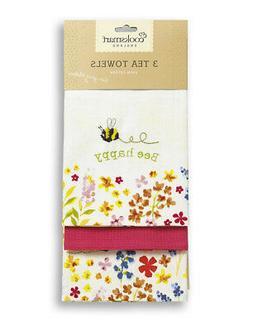 Cooksmart Bee Happy Pack of 3 Tea Towels Drying Cotton Natur