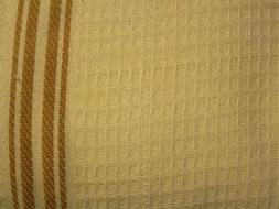 "Beige  KITCHEN TOWELING,Brown Stripes 18"" W finished ,BTY  W"