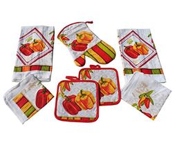 Bell Peppers Kitchen Towel Set 7 Piece Towels Pot Holders Ov