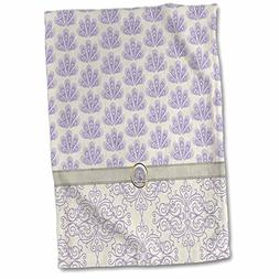 "3D Rose Damask and Peacock Print-Lavender Towel, 15"" x 22"","