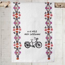 Natural Life Bike Beautiful Flour Sack Towel, Red