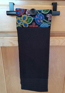 Black Floral Hanging Kitchen Towel with Loop 100% Cotton