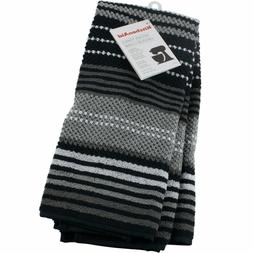 BLACK KitchenAid KITCHEN TOWELS 2 PACK DURABLE ABSORBENT COT
