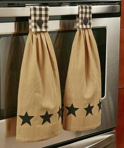 Black Star Set Of 2 Hanging Kitchen Towels Country Charm Pri