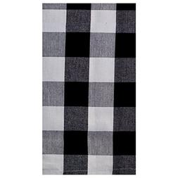 Black and White Large  Check Cotton Dish Towels Set of 2