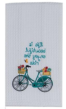 Blue Bike Enjoy the Ride Embroidered Waffle Weave Kitchen Di