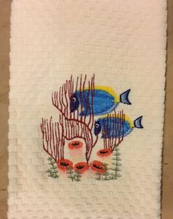 Blue Fish Coral Ocean Beach Embroidered Ivory Kitchen Waffle
