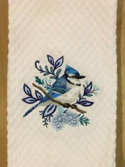 Blue Jay Bird Embroidered White Kitchen Waffle Weave Dish Ha