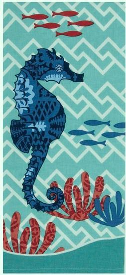 Blue Print Seahorse Coastal 28 Inch Kitchen Dish Tea Towel C