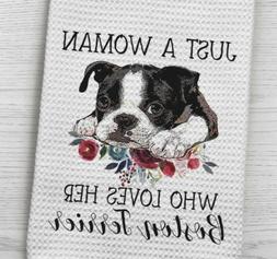 Boston Terrier Dog Waffle Weave Kitchen Towel