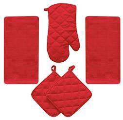 5 Piece Brite Red Kitchen Linen Towel Set Solid Colors Heavy