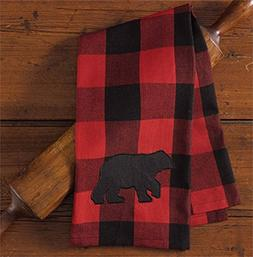 Buffalo Check Bear Applique Decorative Dishtowel, Park Desig