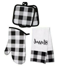 """Blessed"" Buffalo Check Black White Kitchen Linens Towel, Ov"