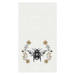 Bumble Bee Floral Black and Yellow 18 x 27 Inch Cotton Decor