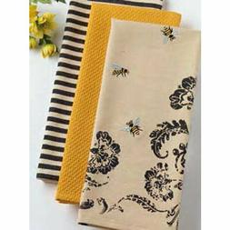 Busy Bee Dish Towels DII, Kitchen Farmhouse, Set/3, embroide