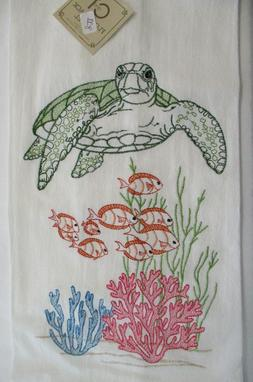 C & F Flour Sack Kitchen Towel. Embroidered Turtle, Fish & S