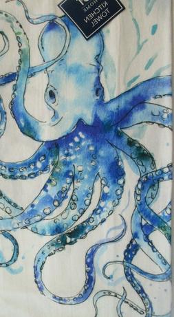 C & F Flour Sack Kitchen Towel. Beautiful blue octopus. New