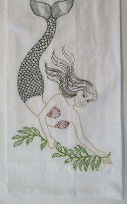 C & F Flour Sack Kitchen Towel. Embroidered Mermaid Design.