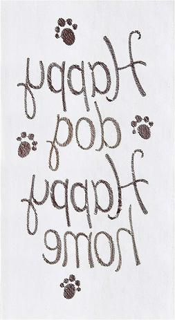 "C&F ""Happy Dog  Happy Home"" Embroidered Flour Sack Cotton Ki"