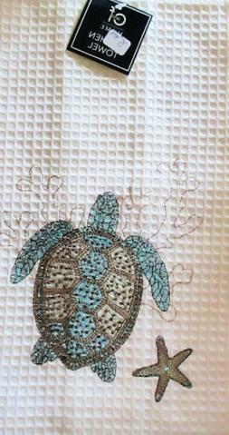C & F Waffle weave Kitchen Towel.Turtle, Starfish & Cora