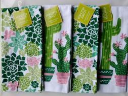 Ritz Cactus Succulent Watercolor Kitchen Towels Set of 4 Gar