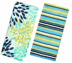 Fiesta Calypso Turquoise Floral & Cool Blue Stripe Kitchen T