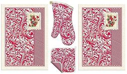 4 Pc Michel Design Works Candy Cane Christmas Kitchen Gift S