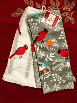 Cardinal Love Birds Kitchen Set Dish Towels (2 NWT 100% Cott