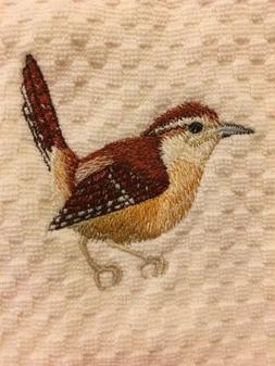 Carolina Wren Bird Embroidered Ivory Cream Kitchen Waffle We