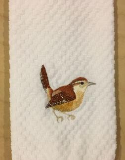 Carolina Wren Bird Embroidered White Kitchen Waffle Weave Te